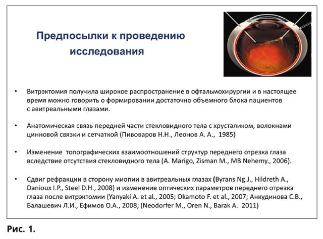 Изменения анатомо-оптических элементов глаза в авитреальных глазах