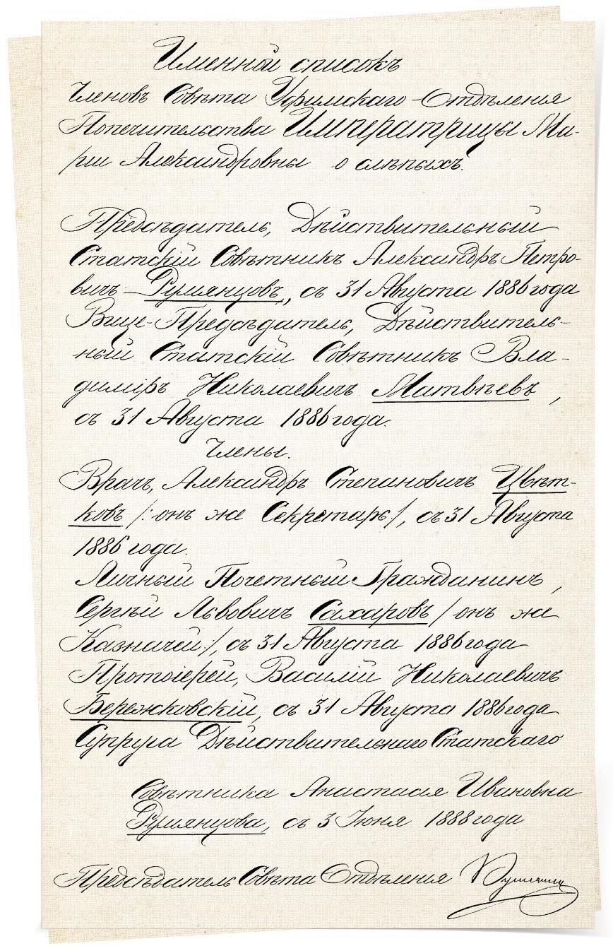 Именной список первых членов Совета Уфимского отделения Попечительства о слепых