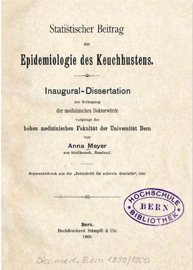 Титульный лист диссертации А.А. Мейер. (Диссертация А.А. Мейер получена из фонда библиотеки Бернского университета)